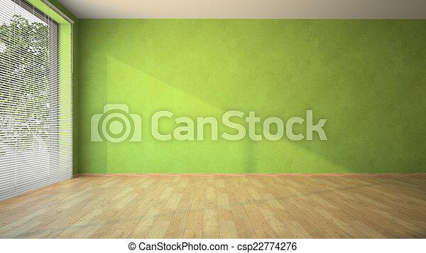 Habitación vacía con paredes verdes y parquet - csp22774276