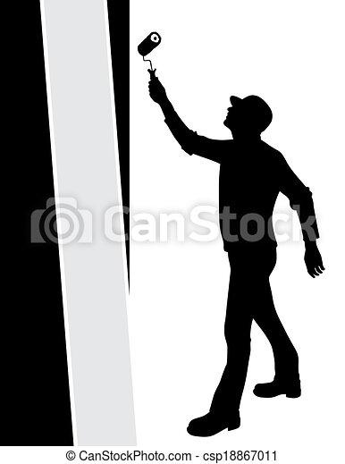 Paredes, vector, pintura, hombre clip art vectorial - Buscar ...