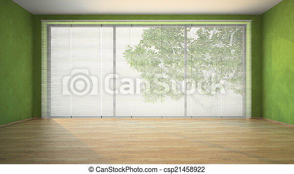 Habitación vacía con paredes verdes - csp21458922