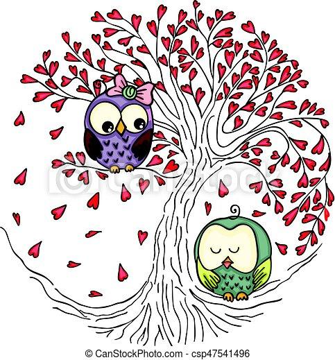 Un par de búhos en el árbol del amor - csp47541496