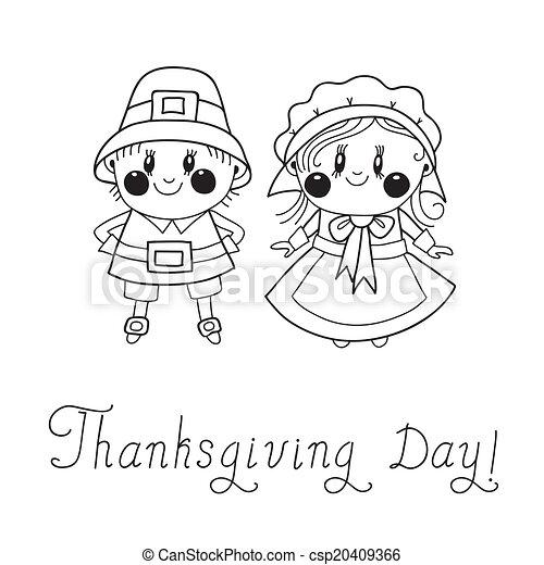Día de Acción de Gracias, la pareja de peregrinos - csp20409366