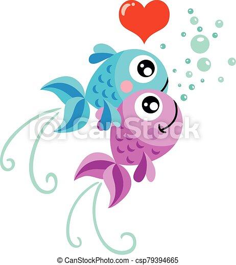 pareja, amor, peces - csp79394665