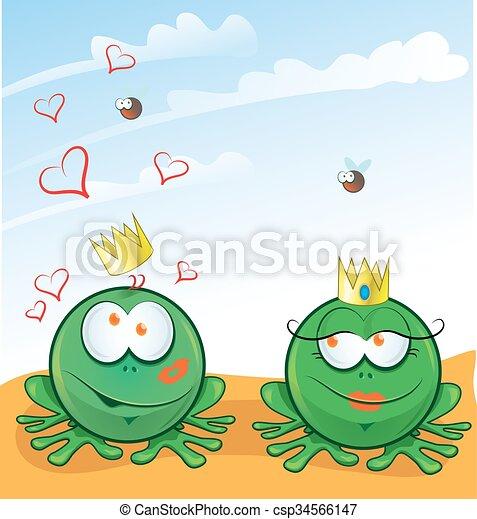 Un par de ranas enamoradas de fondo - csp34566147