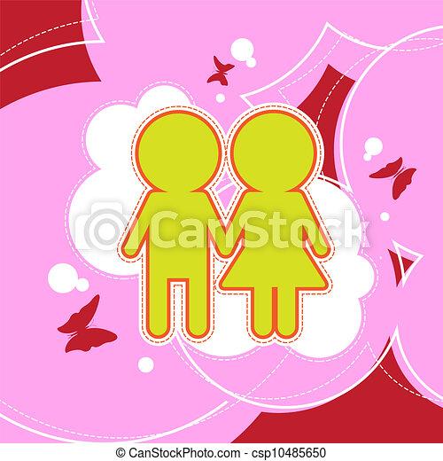 Un par de amores en fondo retro - csp10485650