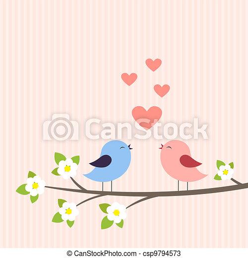 Un par de pájaros enamorados - csp9794573
