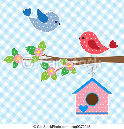 Un par de pájaros y una casa para pájaros - csp9372045