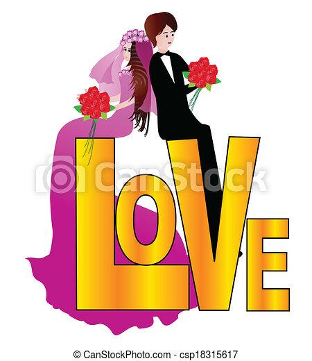 Una pareja de bodas - csp18315617