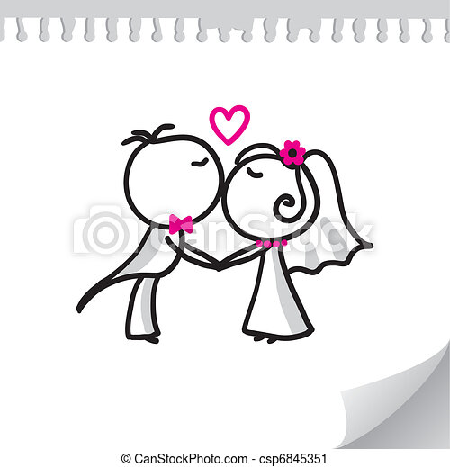 pareja, boda - csp6845351