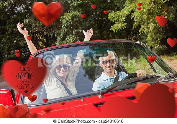 pareja, cabriolet, imagen compuesta, aplausos, maduro, ca, rojo - csp24310616