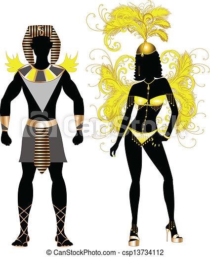 Una pareja egipcia carnaval - csp13734112