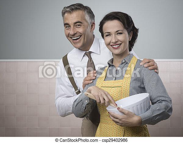 Una pareja encantadora cocinando juntos - csp29402986