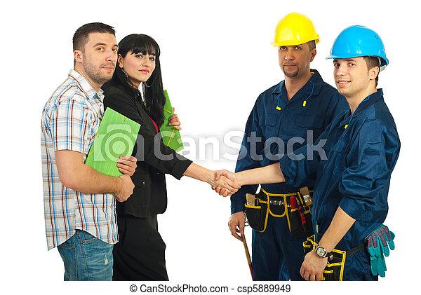 pareja, equipo, trabajadores, acuerdo - csp5889949