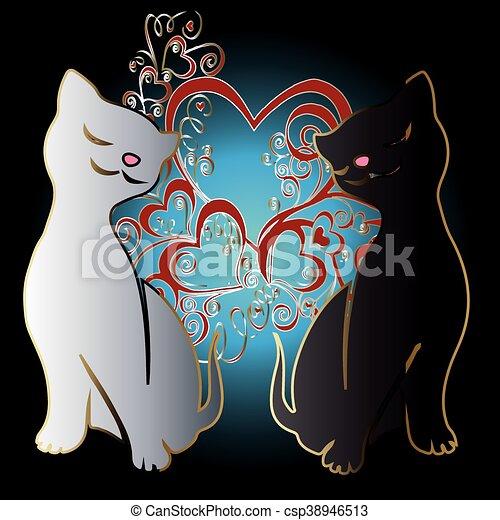 Pareja Gatos Amor Amor Illustration Pareja Gatos Dos Cat