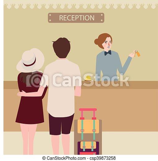 Recepción del hotel pareja de chicas de viaje chequeo en recepción - csp39873258