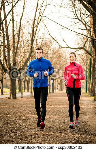 pareja, jogging, juntos - csp30802483