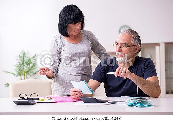 pareja mayor, financiero, discutir, planes - csp79501042