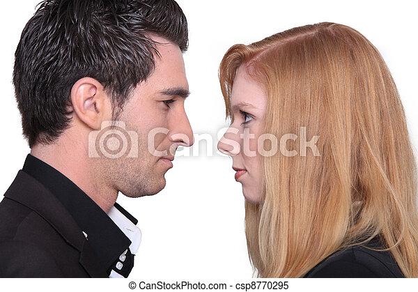pareja, mirar fijamente, cara - csp8770295