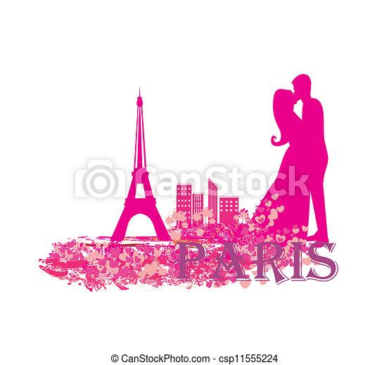Una pareja romántica en París besándose cerca de la torre de eiffel - csp11555224