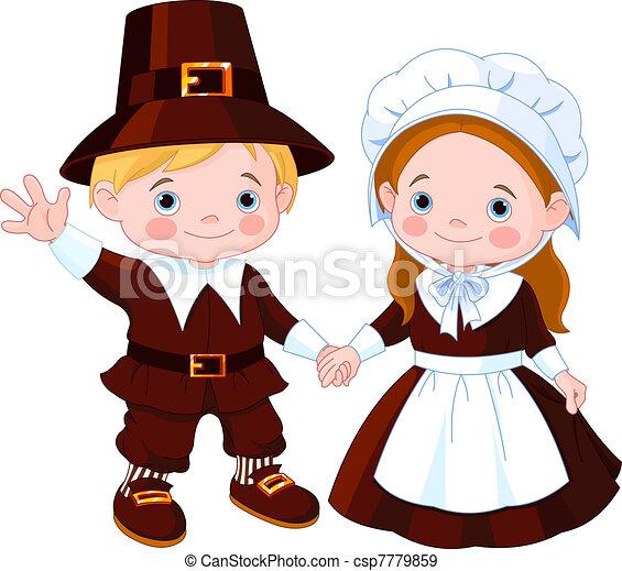 La pareja de peregrinos del Día de Acción de Gracias - csp7779859