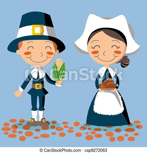 La pareja de peregrinos del día de Acción de Gracias - csp9272063