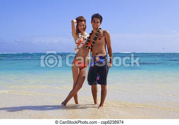 Una joven pareja en la playa en Hawaii - csp6238974