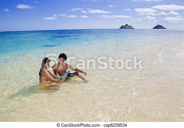 Una joven pareja en la playa en Hawaii - csp6239534