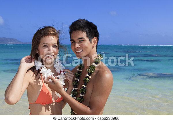 Una joven pareja en la playa en Hawaii - csp6238968
