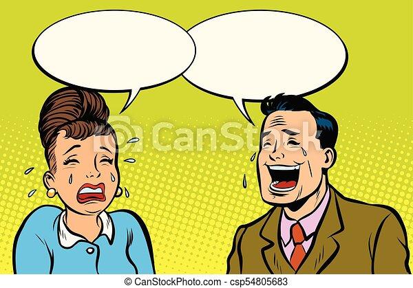 Un par de hombres y mujeres, se ríe de que llora - csp54805683
