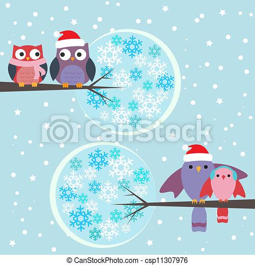 Ilustracin vectorial de parejas bhos invierno aves  Couples