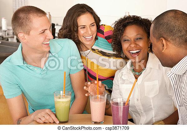 parejas, cenar, dos, afuera - csp3871709