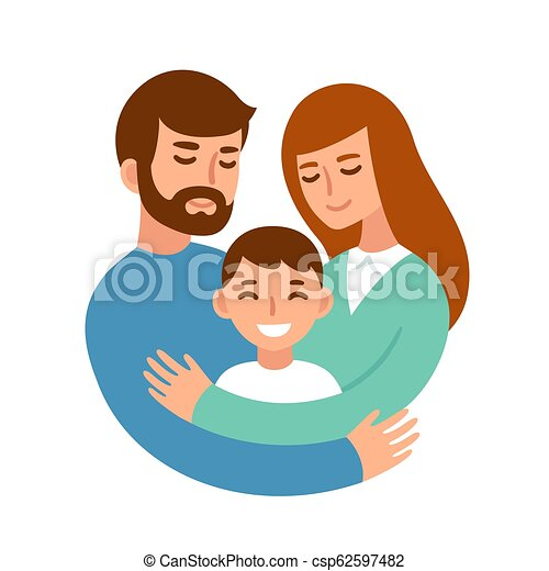 eea29f2d Parents hugging child. Mom and dad hugging their son. happy parents ...