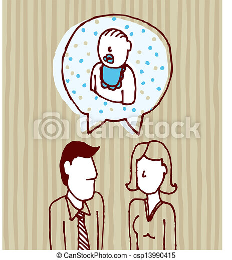 Parents talking about baby / Father, mother, son - csp13990415