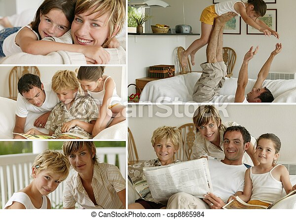 Parents with children at home, photo-montage - csp8865984