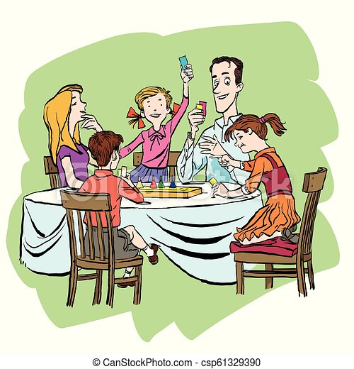 Parents With Their Little Children Playing Together Board Game At Home Family Vacation Concept Vector Cartoon Illustration