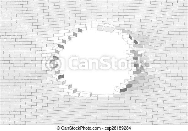 parete, bianco, buco, mattone - csp28189284