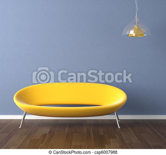 parete blu, divano giallo, disegno, interno - csp6007988