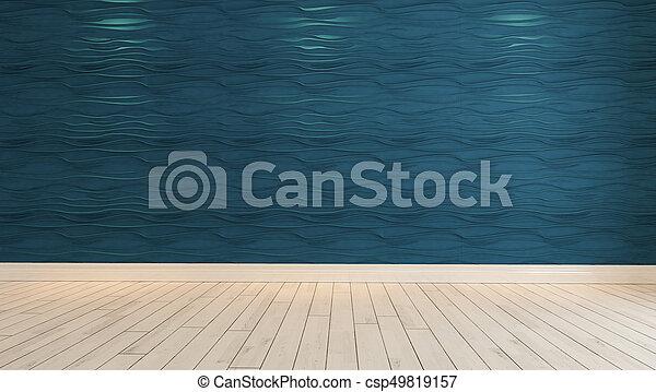 parete blu, luce, macchia, onda, interpretazione, vuoto, 3d - csp49819157