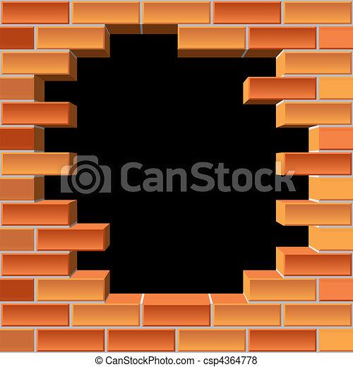 parete, buco, mattone - csp4364778