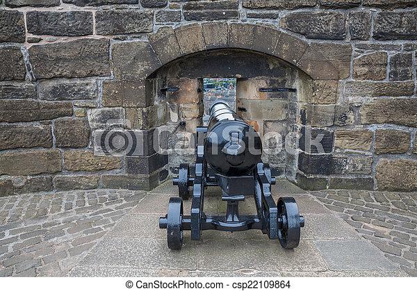 parete, castello edimburgo, cannone - csp22109864