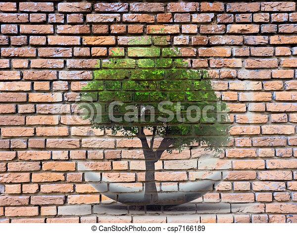 Parete disegnata mattone albero su di - Albero su parete ...