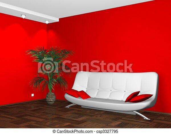 Parete divano disegno interno bianco rosso parete for Divano disegno