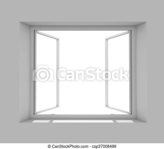 parete, finestra, aperto, grigio - csp37008499