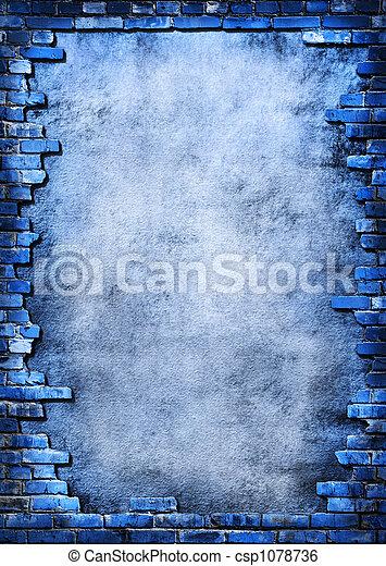 parete, grungy, mattone, cornice - csp1078736