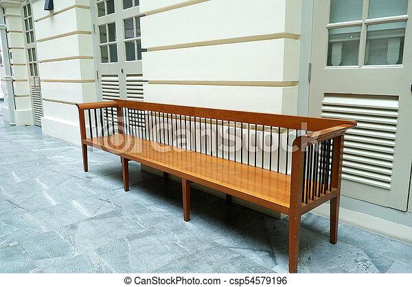 parete legno, fronte, panca - csp54579196