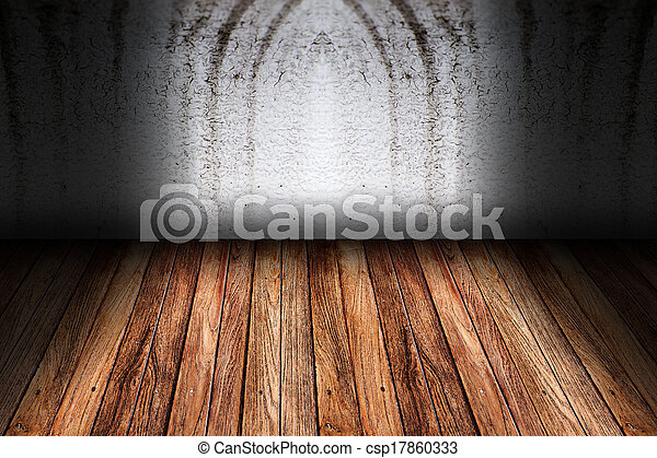 parete, legno, pavimento cemento - csp17860333