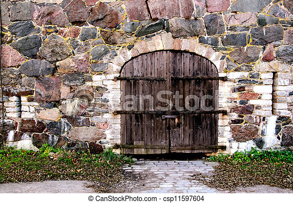 parete legno, pietra, porta - csp11597604
