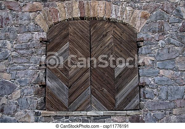 parete legno, pietra, porta - csp11776191