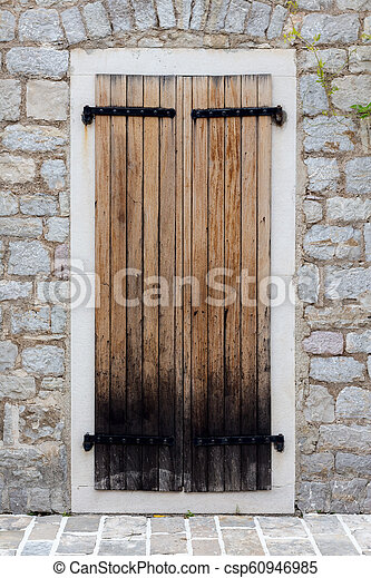 parete legno, pietra, porta, chiuso - csp60946985