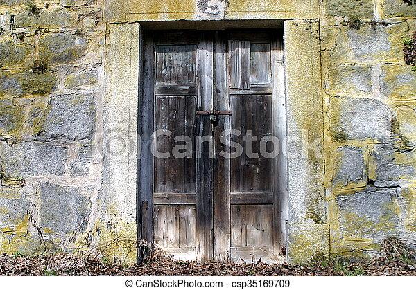 parete legno, pietra, porta, vecchio - csp35169709