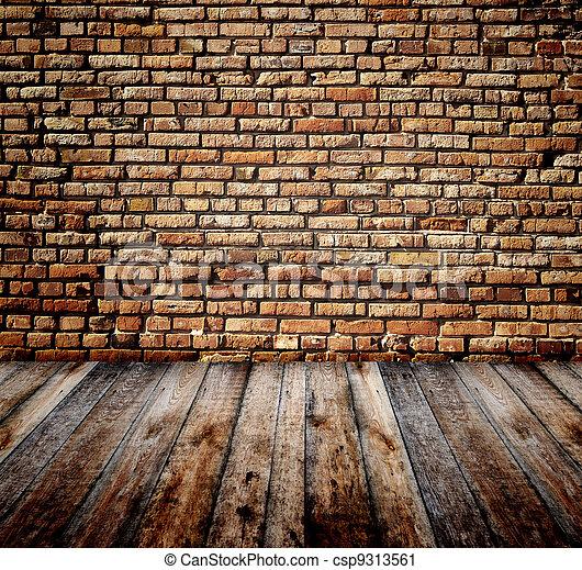 parete, mattone, vecchio, stanza - csp9313561